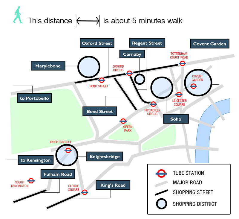 Walking map of  London's best shopping areas