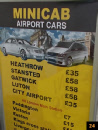 London street sign showing cab prices